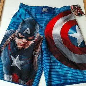 NWT Captain America Swim Trunks Shorts L 1…
